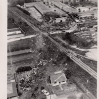 Aerial View of Debris Field Leading to Hotel