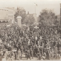 Crowd Gathered in Front of the North Side of the Courthouse in Monroe, Wisconsin