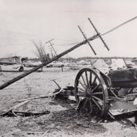 World War I Cannon Surrounded by Tornado Damage