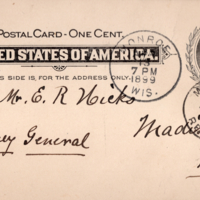 Correspondence from Fred Tschudy & sons to Wisconsin Attorney General Emmett R. Hicks, 1899